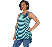 LOGO by Lori Goldstein Striped Knit Tank with Swing Hem - A309148