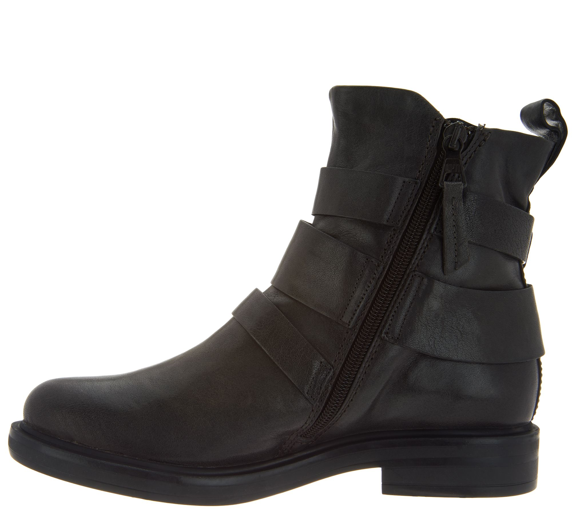 Miz Mooz Leather Triple Buckle Ankle Boots Booties Casper Gunmetal 7.5-8 EU38