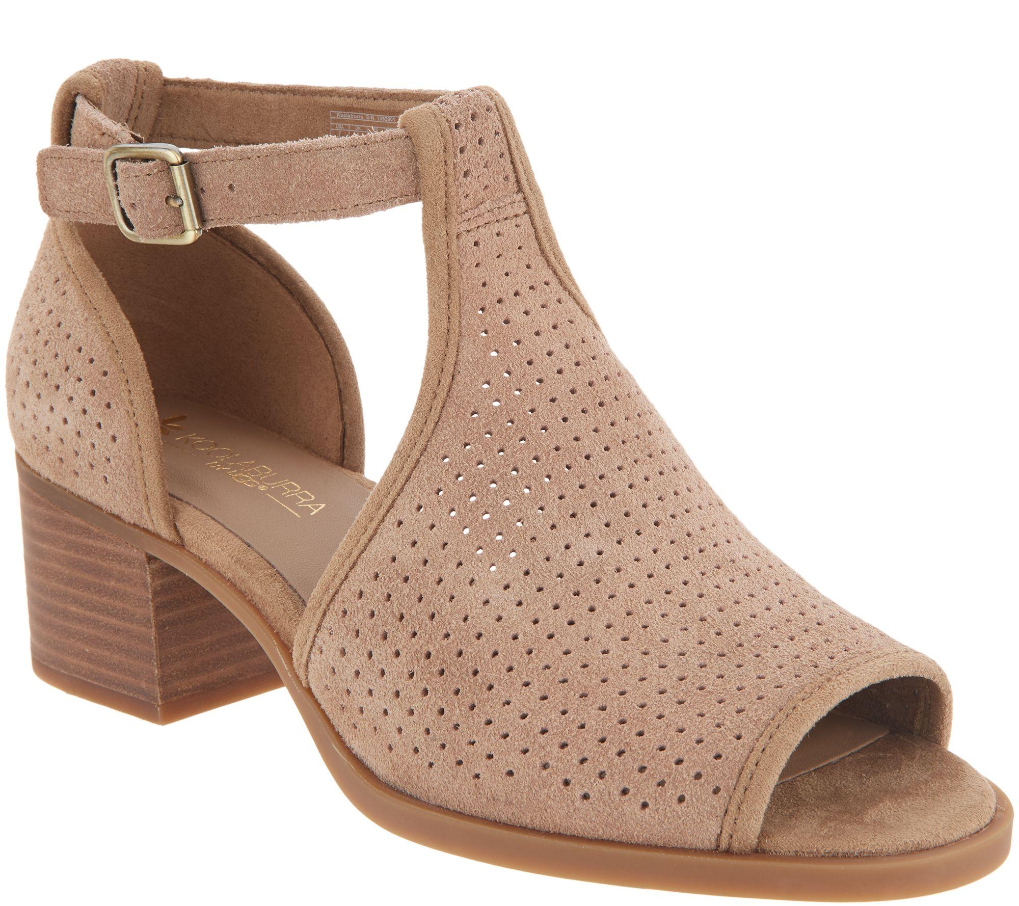 8d0903a70ac4b Koolaburra by UGG Perforated Suede Heeled Sandals -Ashlyn — QVC.com