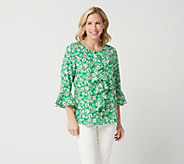 Linea by Louis DellOlio Printed Button Front Ruffle Blouse - A347448
