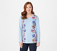 As Is Quacker Factory Printed Floral with Rhinetone Top - A384748