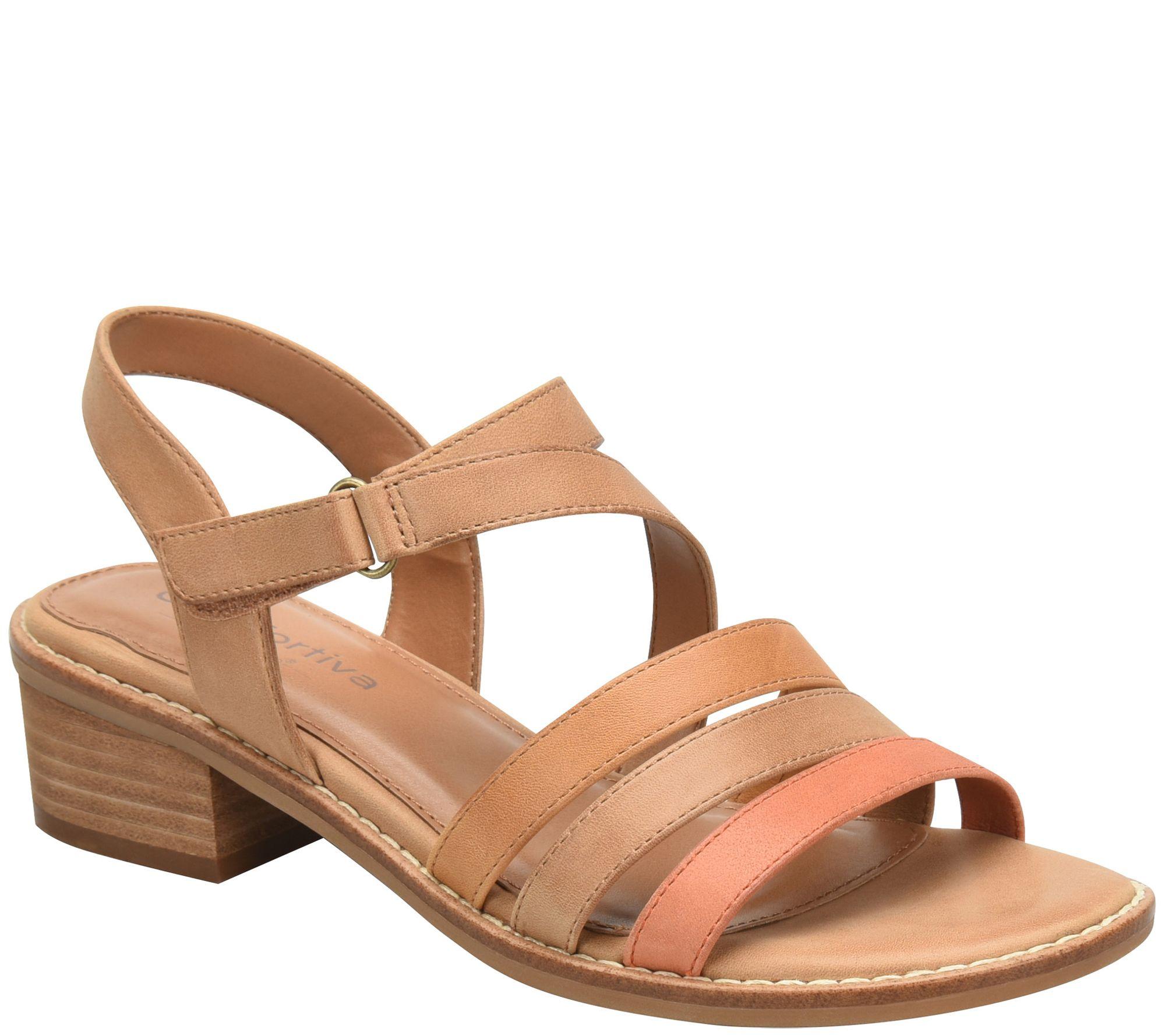 f6189fc31c0 Comfortiva Mixed Leather Heeled Sandals - Ballina — QVC.com