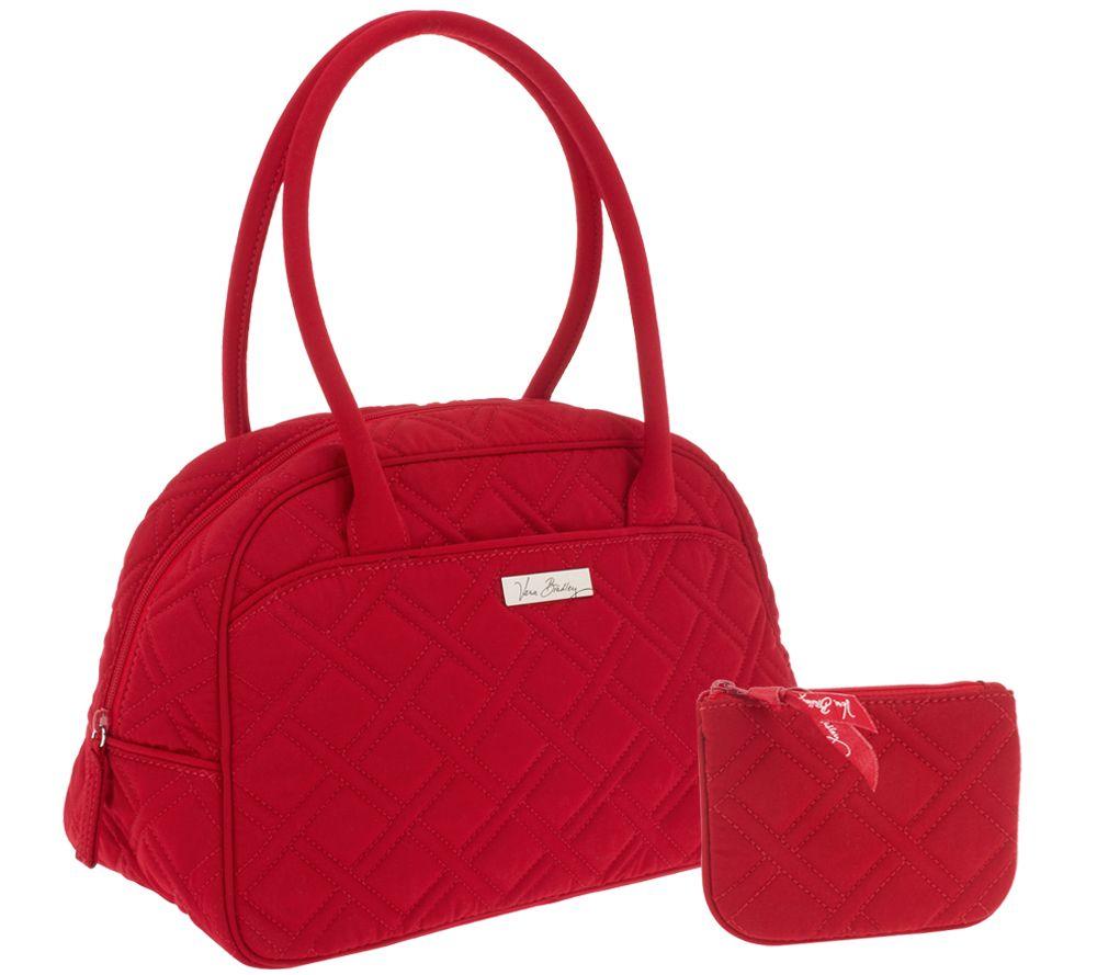 Vera Bradley Microfiber Medium Bowler Bag With Coin Purse Page 1 Qvc