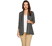 Susan Graver Weekend Striped Novely Knit 3/4 Sleeve Open Front Cardigan - A265849