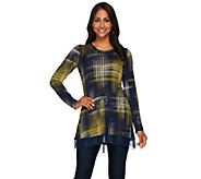 LOGO by Lori Goldstein Printed Knit Top with Lace Trim - A267849