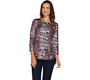 Attitudes by Renee 3/4 Sleeve Metallic Knit Top - A282049