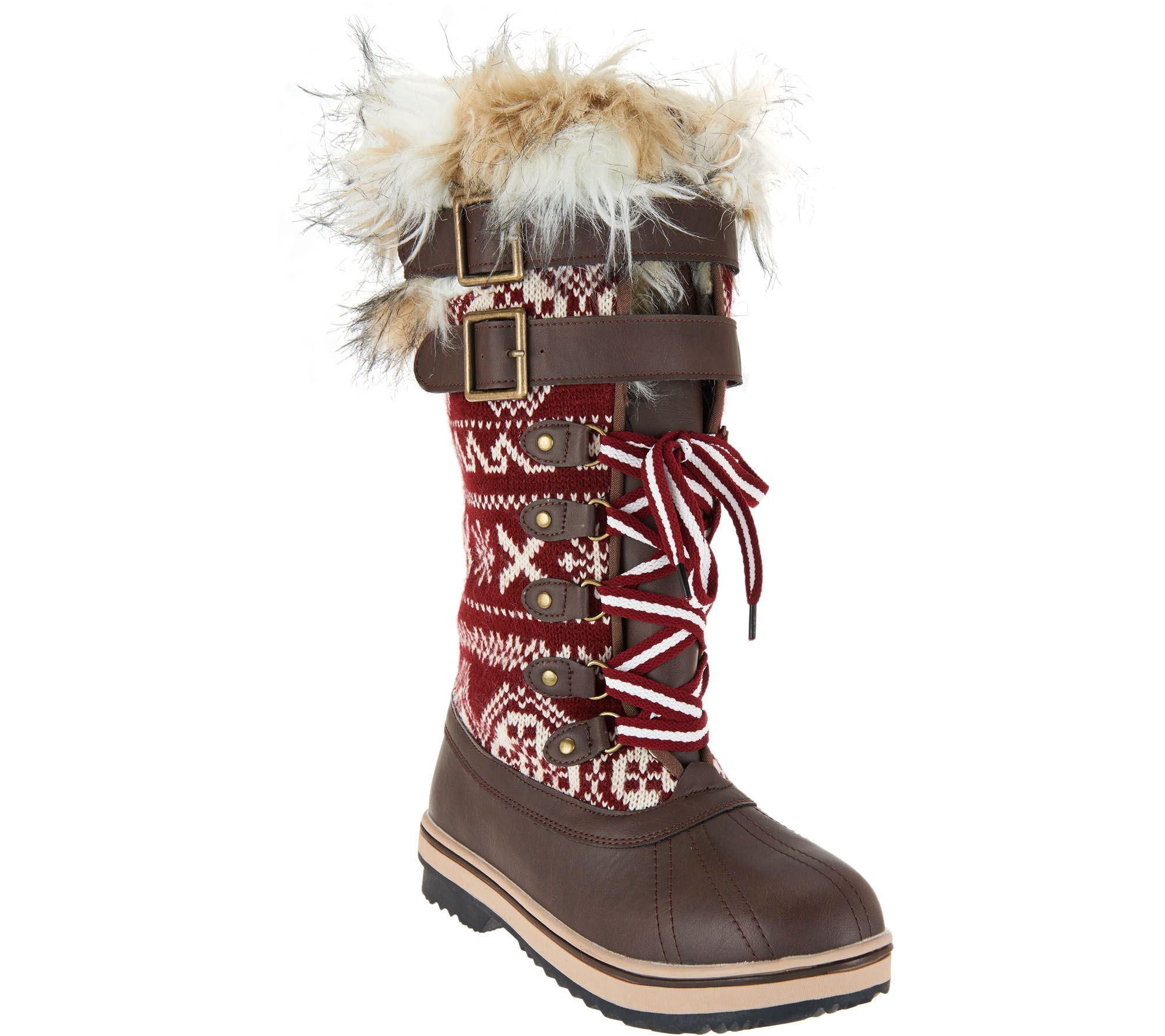 MUK LUKS Allie Lace-Up Knit Snow Boots with Thinsulate - Page 1 — QVC.com 8ecbcaed9