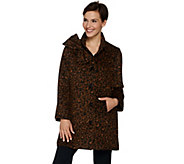 Dennis Basso Leopard Print Button Front Coat with Bow Accent - A284849