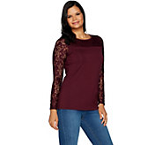 Belle by Kim Gravel Long Sleeve Knit Top with Lace Trim - A296549