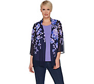 Susan Graver Printed Chiffon Cardigan and Knit Tank Set - A301149