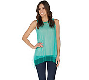 LOGO Layers by Lori Goldstein Sheer Layered Mesh Tanks - A302449