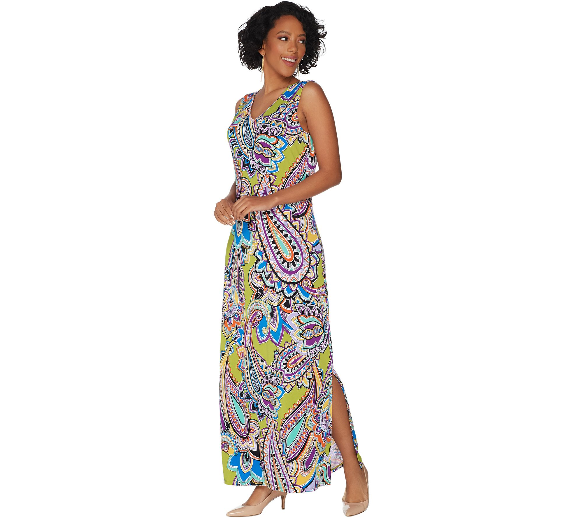 b4993d3c9 Susan Graver Printed Liquid Knit Sleeveless Maxi Dress - Page 1 — QVC.com