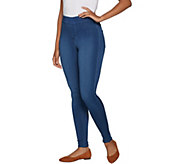 As Is Denim & Co. Distressed Pull-On Stretch Denim Leggings - A306249