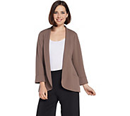 H by Halston Knit Crepe 3/4-Sleeve Open Front Jacket - A311549