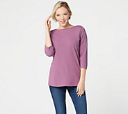 Denim & Co. Essentials Perfect Jersey Boat-Neck 3/4-Sleeve Top - A347349