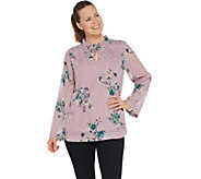 Du Jour Long Sleeve Floral Printed Clip Dot Woven Top - A347549
