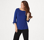 Dennis Basso Caviar Crepe 3/4-Sleeve Top with Tie Detail - A351949
