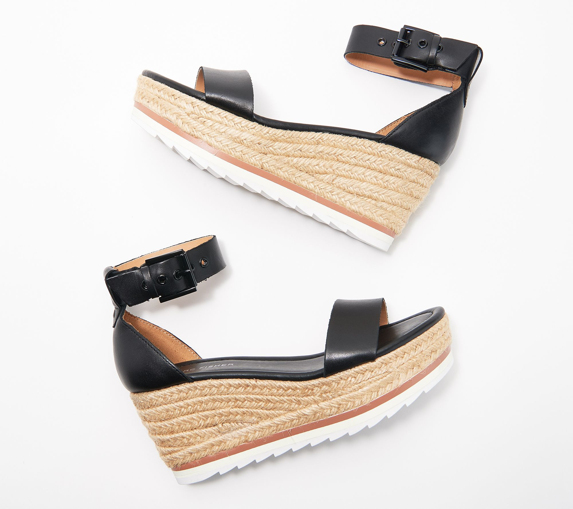 Marc Fisher Leather or Suede Espadrille Wedges - Zako — QVC com
