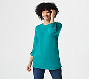Denim & Co. Active Petite French Terry 3/4-Sleeve Tunic - A383249