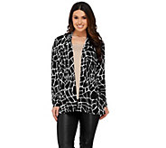Susan Graver Printed Liquid Knit Long Sleeve Open Front Cardigan - A273450