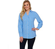 Denim & Co. Long Sleeve Gingham Woven Shirt with Roll Tab - A275250