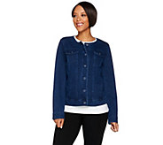 Isaac Mizrahi Live! Knit Denim Jacket w/ Printed Trim - A278050