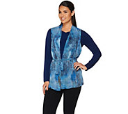 Susan Graver Printed Sheer Chiffon Vest and Liquid Knit Top Set - A281150