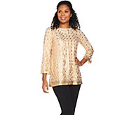 Bob Mackies 3/4 Sleeve Sequin Pull-Over Top - A284350