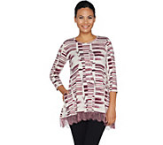 LOGO by Lori Goldstein Printed Top with Lace Hem - A286950