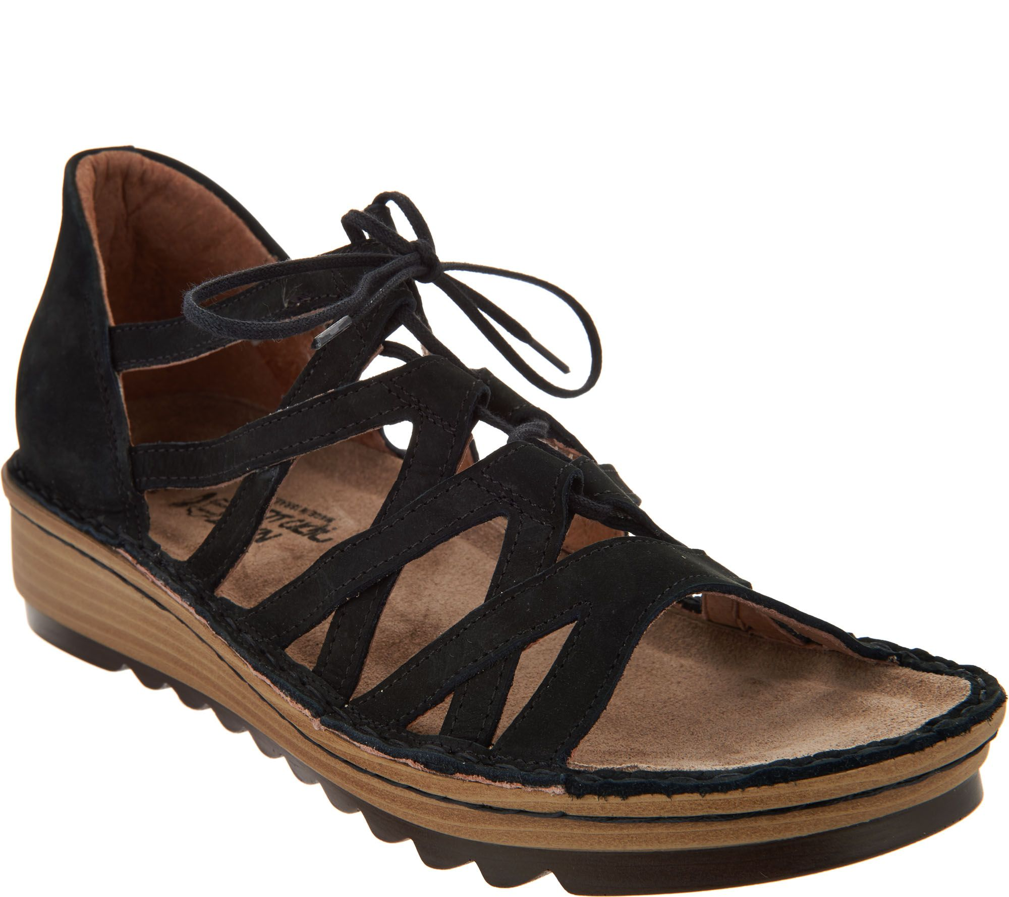 Naot Leather Lace-up Wedge Sandals - - Yarrow - Page 1 — QVC.com 87ba594ca81
