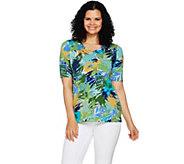 Denim & Co. Active Tropical Print Elbow Sleeve V-Neck Top - A292450