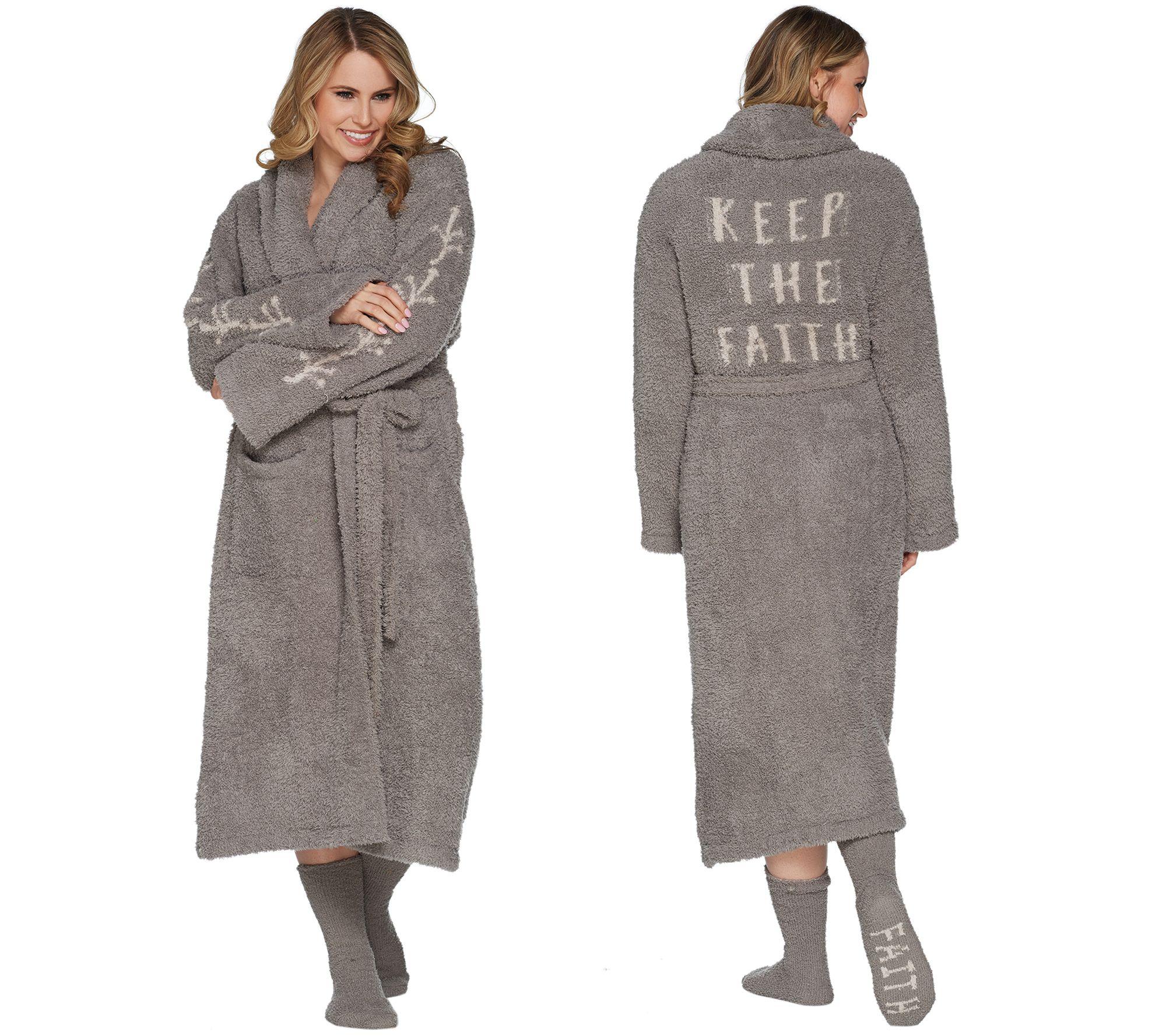 69f1e2a536 Barefoot Dreams Cozychic Inspiration Robe with Socks - Page 1 — QVC.com