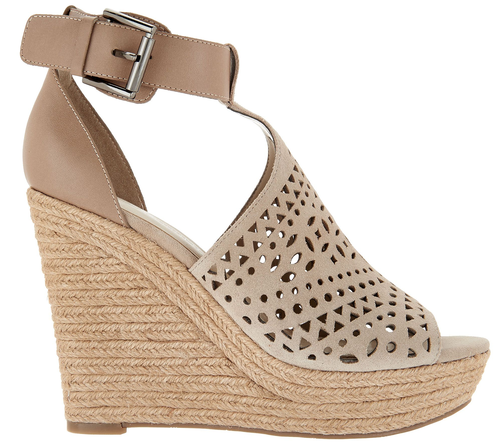 783004add2a0 Marc Fisher Perforated Suede Wedges -Hasina - Page 1 — QVC.com