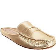 Isaac Mizrahi Live! Snake Embossed Leather Mule Moccasins - A305050