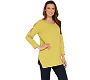 H by Halston Scoop Neck French Terry Tunic w/ Sleeve Detail - A305350