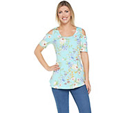 Isaac Mizrahi Live! Tropical Floral Cold Shoulder Peplum Tunic - A306450
