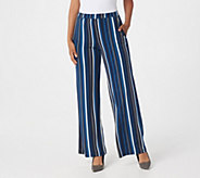 Susan Graver Petite Printed Liquid Knit Wide-Leg Pants - A308250