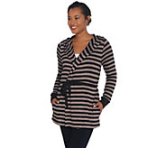 AnyBody Loungewear Brushed Hacci Striped Hooded Cardigan - A310150