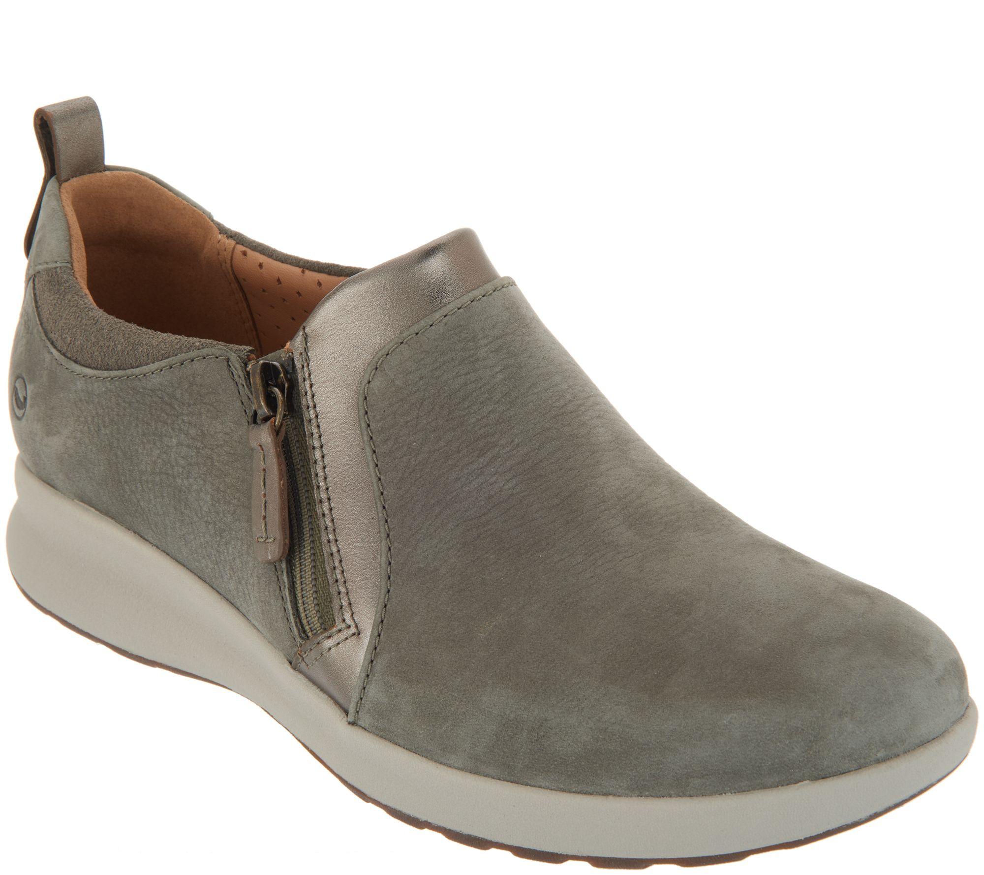 950b245cefe Clarks Unstructured Side-Zip Slip-On Shoes - Un.Adorn Zip - Page 1 — QVC.com