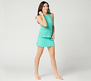 Denim & Co. Beach Lace High Neck Tankini with Skirt - A350350