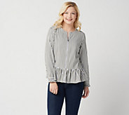Denim & Co. Yarn Dyed Striped Peplum Jacket - A351550