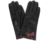 Karla Hanson Womens Leather Touch Screen Gloves with Bow - A421850
