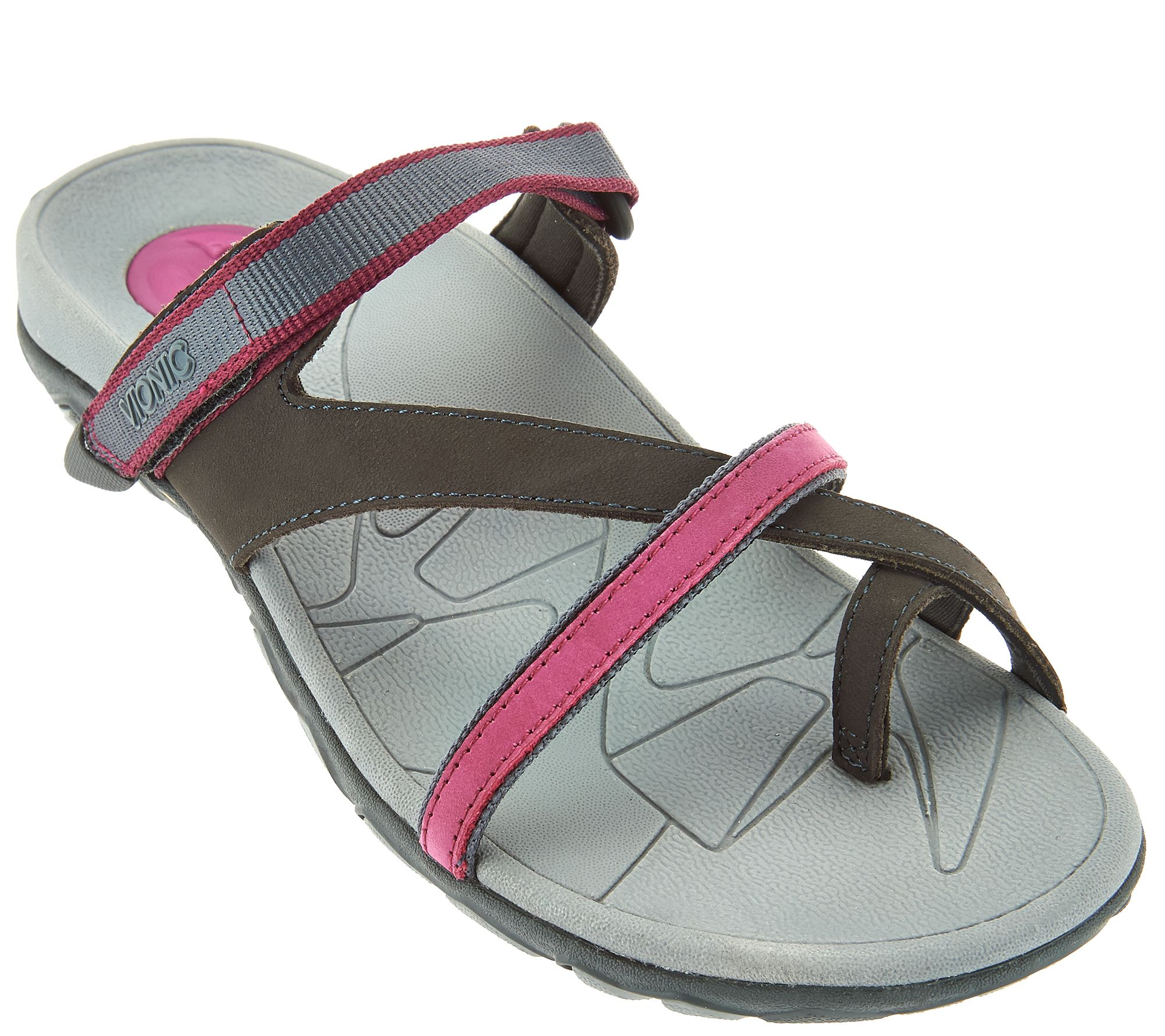 a5cdca353a7 Vionic Orthotic Leather Sport Sandals - Mojave - Page 1 — QVC.com