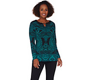 Susan Graver Printed Liquid Knit Tunic with Keyhole Trim - A279751