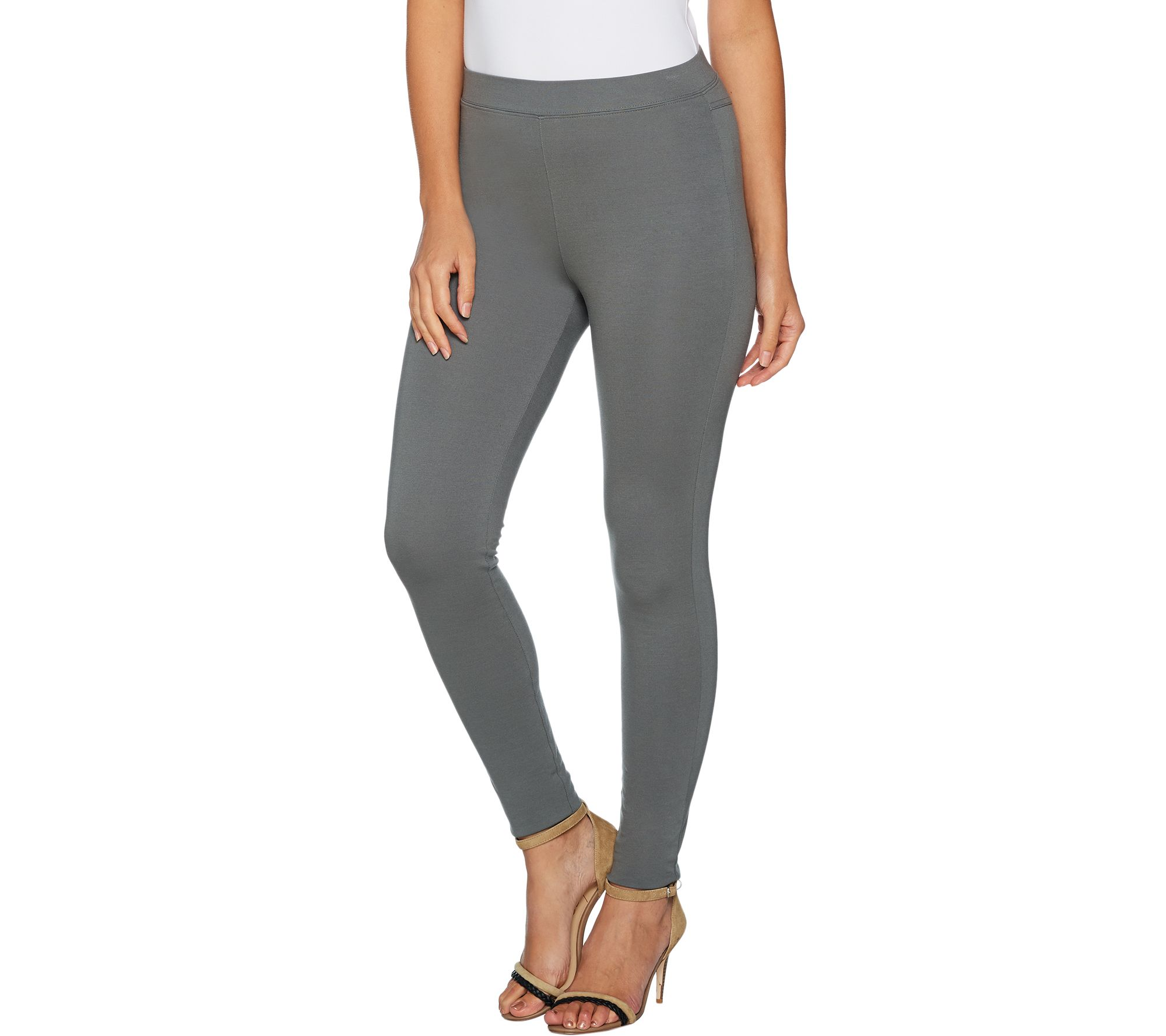 Women with Control Regular Fit Pull-on Knit Leggings Chocolate X-Large Size QVC