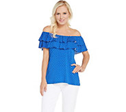 Attitudes by Renee Choice of Print or Solid Ruffle Knit Top - A301351