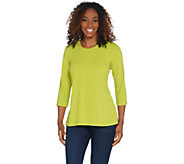 Joan Rivers 3/4 Sleeve Knit Top with Pleated Back - A306451
