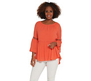 Du Jour Crinkle Gauze Bell Sleeve Top with Lace Inset - A308951