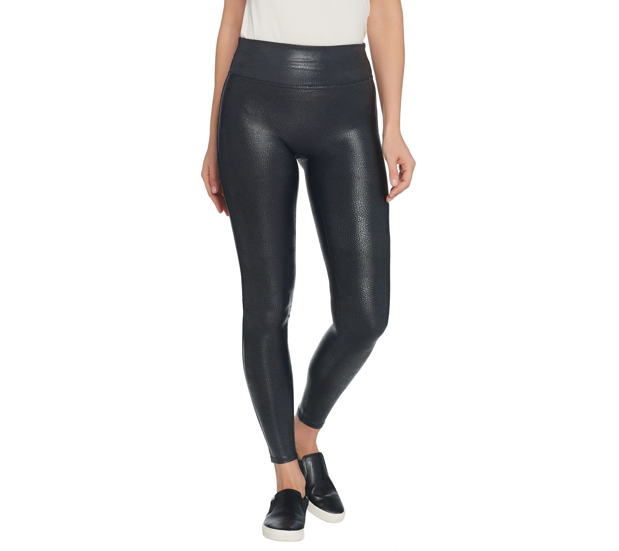 e24220e75da49e Spanx Faux Leather Pebble Grey Leggings - Page 1 — QVC.com