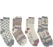 MUK LUKS Cozy-Lined Socks Set of Four - A342651